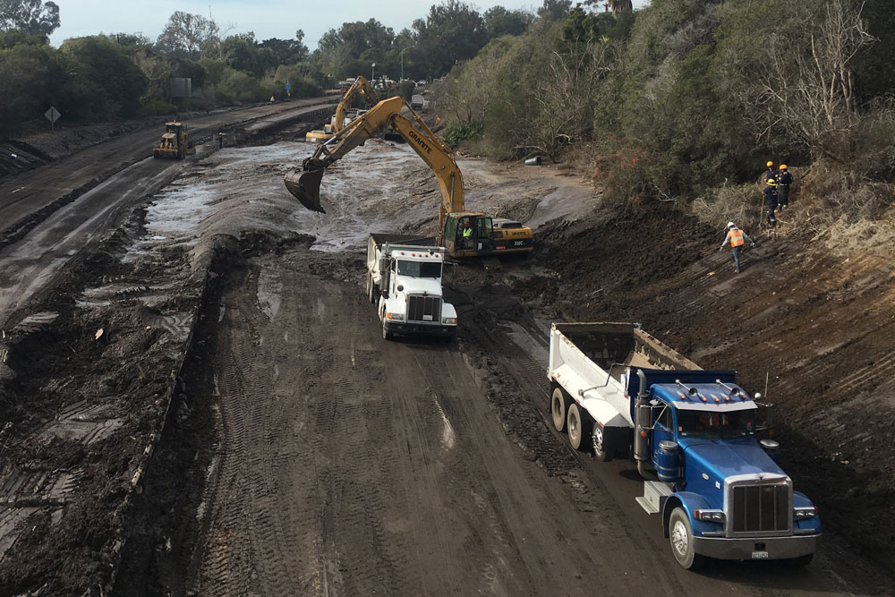 USA 101 Reopens After Being Swamped By Deadly Mudslides
