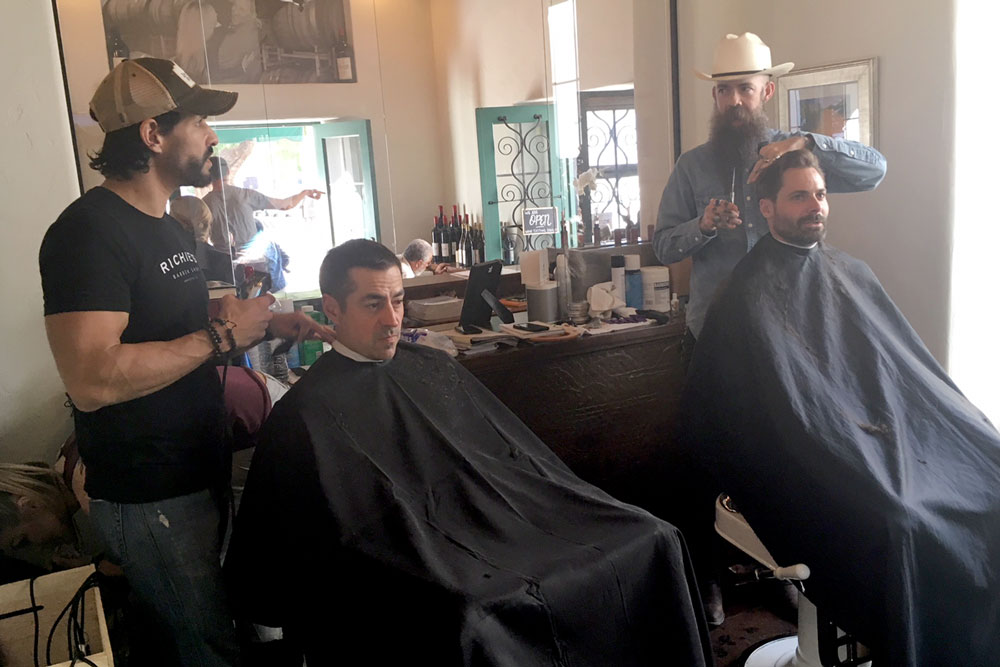 Richie's Barber Shop on Coast Village Road is temporarily operating from a back room at Jamie Slone Wines, 23 E. De La Guerra St., due to the Montecito flooding.