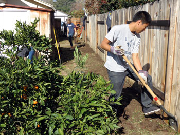 Uc Santa Barbara Student Franklin Ly Shovels Dirt From The Backyard Of An Eld