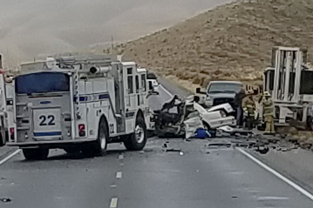 Highway 166 was shut down east of New Cuyama on Friday after a sedan slammed into a hay-baling tractor, killing one person.