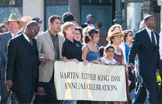 Throngs of Santa Barbarans joined Monday's State Street march commemorating Martin Luther King Jr. Day.