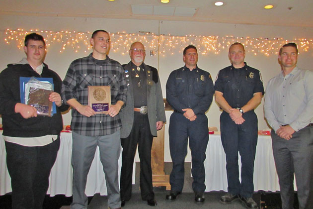 The Santa Maria Elks hosted the 38th annual Firefighters Appreciation Night on Wednesday. PIctured, from left, are Jacob Taylor, son of U.S. Forest Service winner Robert Taylor; Vandenberg Fire Department Staff Sgt. Cole Connors; Elks Exalted Rule Dick Parker; County Fire Capt. Steve Davis; Guadalupe Fire Department Capt. Patrick Schmitz; and Santa Maria Fire Engineer Matt Mihlhauser.