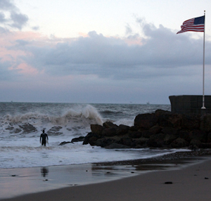 High winds on Wednesday propel the waves at Sandspit