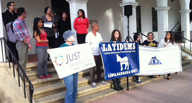 <p>Members of the Central Coast Alliance United for a Sustainable Economy gather Tuesday outside Santa Barbara City Hall to voice support for immigration reform.</p>