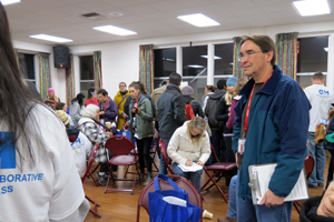Volunteer Kevin Welsh gathered with dozens of others who were up and ready by 4:30 a.m. Tuesday to help count and register the homeless in Santa Barbara. (Gina Potthoff / Noozhawk photo)