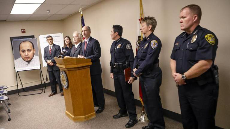 San Luis Obispo County District Attorney Dan Dow leads a news conference Monday on the case of Uber driver Alfonso Alarcon-Nunez of Santa Maria, who is accused of raping multiple intoxicated women after giving them rides home in San Luis Obispo.