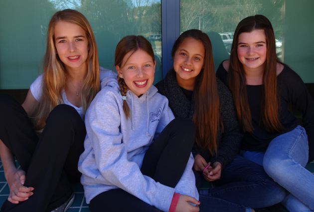 Crane Country Day School seventh-graders Grace Johnson, Shelagh Morphy, Isabel Gonzalez and Arin Pieramici have organized a Care Fair for Feb. 1 to benefit local nonprofits. (Crane Country Day School photo)
