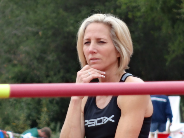 <p>Sue McDonald is deep in thought before competing in the high jump last June at the USATF Western Regional Masters Championships, where she broke the American record.</p>