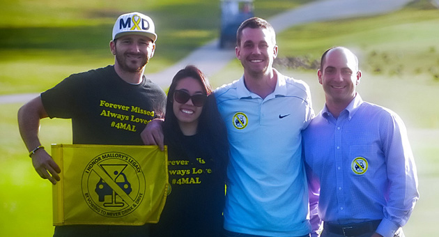 From left, Michael Rousso, Bonnie Kwan and Ryan Todey of the Vow4Mal Foundation with Sandpiper Golf Club general manager D.J. Limardi, prior to the new nonprofit organization's inaugural benefit golf tournament. (Lara Cooper / Noozhawk photo)