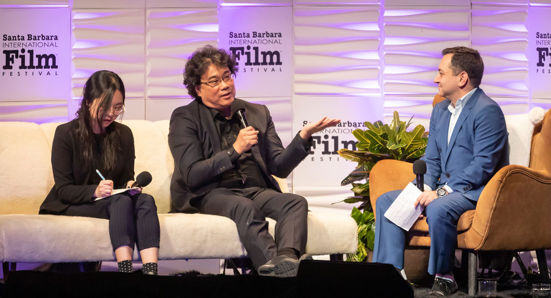 Bong Joon Ho is interviewed Thursday night on stage at the Arlington Theatre.