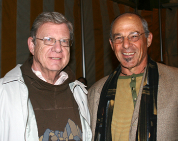 Jeff Greenfield, left, and Nadav Sklar take in a VIP preshow reception before the Hot Tuna concert.