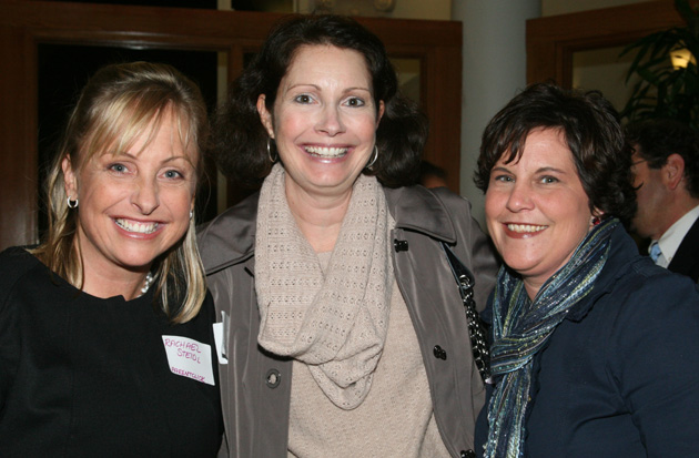 ParentClick.com founder Rachael Steidl, left, celebrates her company's 10-year anniversary Monday night with Westmont College professor Michelle Hughes and Goleta Union School District trustee Valerie Kushnerov.