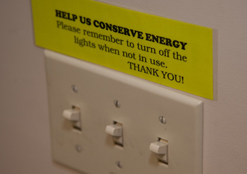 A simple reminder to turn off lights, and save energy.