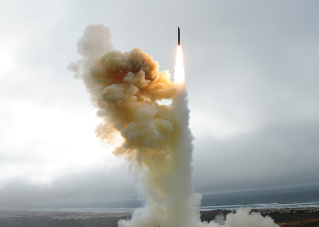 <p>A ground-based Interceptor missile soars from the launch pad Saturday at Vandenberg Air Force Base. The successful launch was part of a test to improve and enhance the nation&#8217;s Ballistic Missile Defense System.</p>