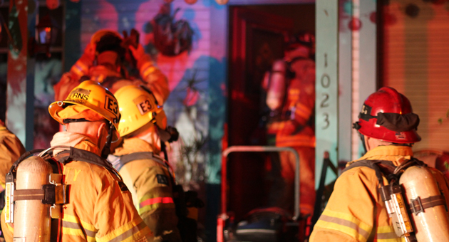<p>Firefighters quickly contained a fire that broke out in an East Ortega Street home in Santa Barbara on Saturday night. Flames were contained to a bathroom, but smoke damage was extensive throughout the house.</p>