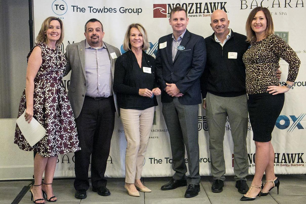 From left, Kristen Miller, president/CEO of the Goleta Chamber of Commerce, with board members Tony Vallejo, CPA; Renee Grubb, Village Properties; Matt Long, Signature Flight Support; Rich Nahas, Glen Annie Golf Club; and Hallie Avolio, Latitude 34 Technologies and chairwoman of the chamber board. (Not pictured is Donna Lewis, Goleta Union School District.)