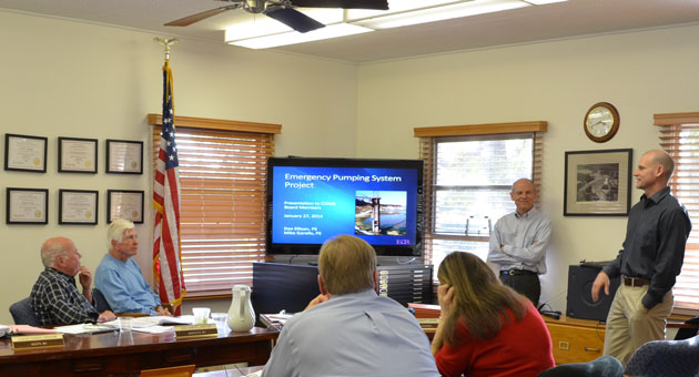 <p>Members of the Cachuma Operations and Maintenance Board receive a briefing Monday on a proposal to build an emergency pumping station at Lake Cachuma.</p>