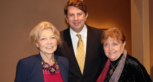 <p>Artists Alice Aycock, left, and Michelle Stuart with Larry Feinberg, the Santa Barbara Museum of Art&#8217;s Robert and Mercedes Eichholz Director, during Saturday&#8217;s private reception of the women&#8217;s combined exhibition.</p>