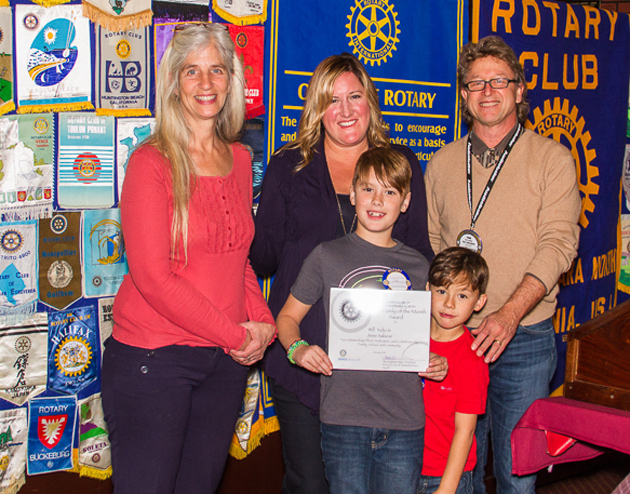 <p>Rotary Club of Santa Barbara North community service chairman Tom Jacobs with Adams School third-grade teacher Leslie Ayala, left, with the Salazar family — mom Jessi Salazar, third-grader Will and kindergartener Indio.</p>