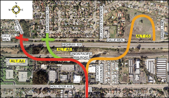 Alternatives under review for a new Highway 101 Overcrossing Project in western Goleta
