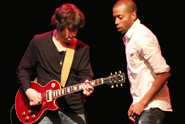 <p>Troy Andrews, right, also known as Trombone Shorty, and his band Orleans Avenue brought New Orleans rhythms to UCSB Campbell Hall last Thursday night.</p>