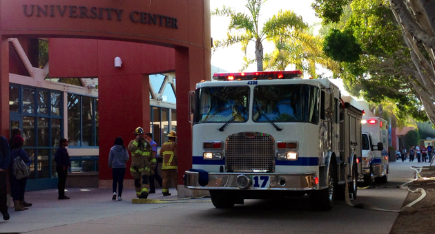 <p>Santa Barbara County Fire crews respond Wednesday afternoon to a fire at UCSB&#8217;s University Center Building.</p>
