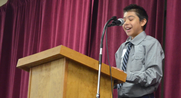 <p>Santa Barbara Junior High School eighth-grader Luis Valencia, speaking at the Santa Barbara Partners in Education breakfast on Wednesday, says he feels more confident in school with the help of the organization&#8217;s CORE program, through which MedBridge employees volunteer weekly to help at-risk students with their academics and behavioral issues.</p>