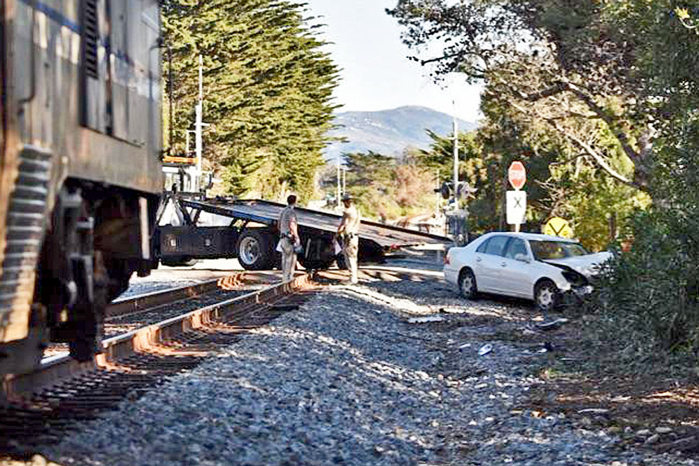Minor injuries were reported Sunday afternoon when a car collided with an Amtrak train near Finney Street in Summerland.