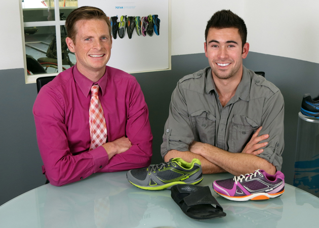 Dr. Geoff Gray, left, and UCSB senior Rob LaRue have been working closely over the past two years to study the effects of footwear on the body. Gray's biomechanical research company, Heeluxe, will celebrate a grand opening for its new Goleta lab on Thursday. (Gina Potthoff / Noozhawk photo)