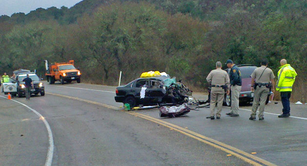 The impact of a deadly Jan. 30 head-on collision on Highway 1 crushed the fronts of both vehicles, a Honda Civic whose driver was killed, and a Chrysler PT Cruiser, whose occupants suffered major injuries. (Jarrod Gustin photo / KCOY News)