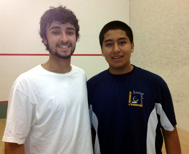 <p>Dos Pueblos High Schools senior and national ranked squash player Miguel Nava, right, with an opponent from San Diego's NUSEA program.</p>