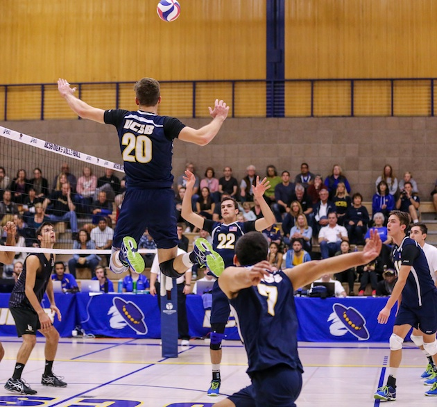Ryan Hardy goes up for the fake as Austin Kingi prepares to hit the set from UCSB setter Jonah Seif on a combination play.