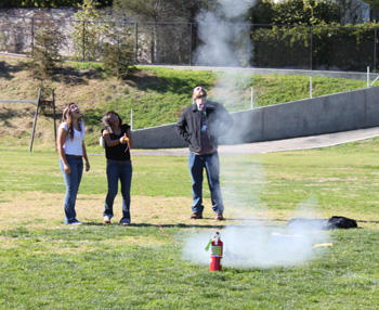 Students in Blake Parsons' physics class launch rockets, in awe of Newton's third law. (Foundation for Santa Barbara High School photo)