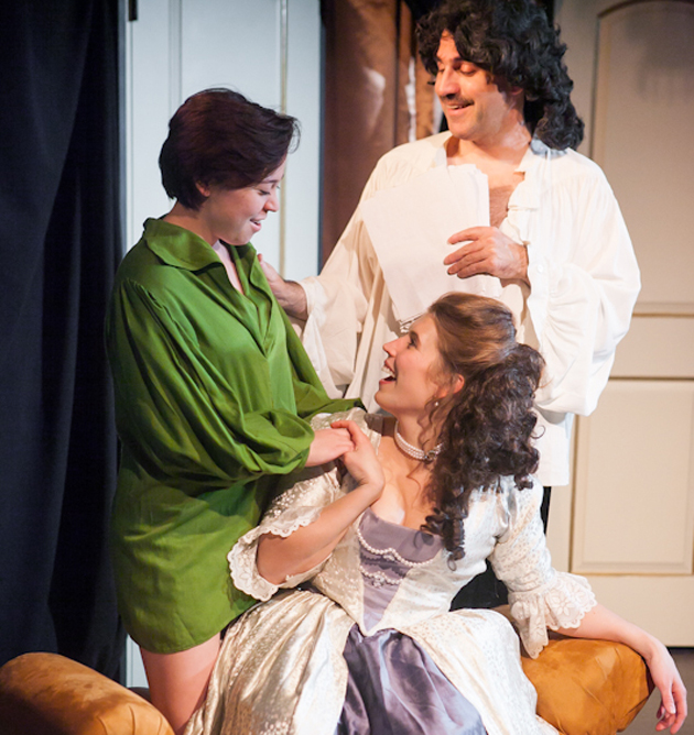 <p>Stephanie &#8220;Babz&#8221; Farnum, standing, Michael Bernard and Emily Jewell star in Elements Theatre Collective&#8217;s <i>Or</i>, running through Feb. 10.</p>