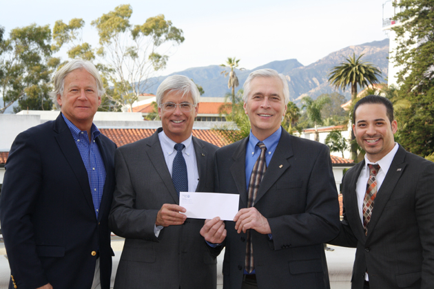 Randy Weiss, left, Union Bank community outreach officer, and George Leis, Union Bank regional president of the Central Coast Division, present a $15,000 check to United Way of Santa Barbara County President/CEO Paul Didier and Workplace Development Director Steve Ortiz. (United Way of Santa Barbara County photo)