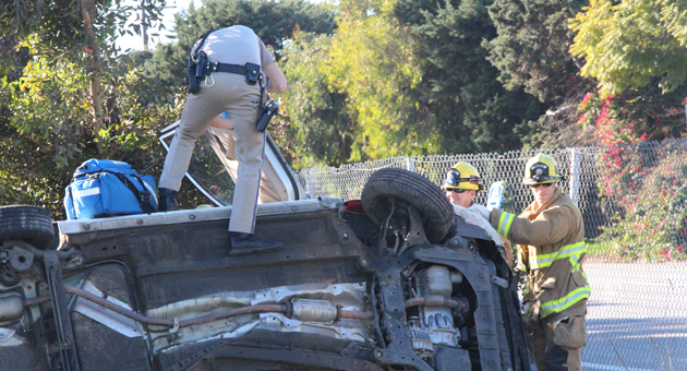 A 21-year-old man was injured Thursday afternoon when his car overturned on northbound Highway 101 near Fairview Avenue in Goleta. (John Palminteri / KEYT News photo)