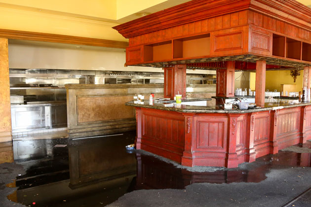 Flooding occurred Sunday inside the former Marmalade Restaurant in La Cumbre Plaza.