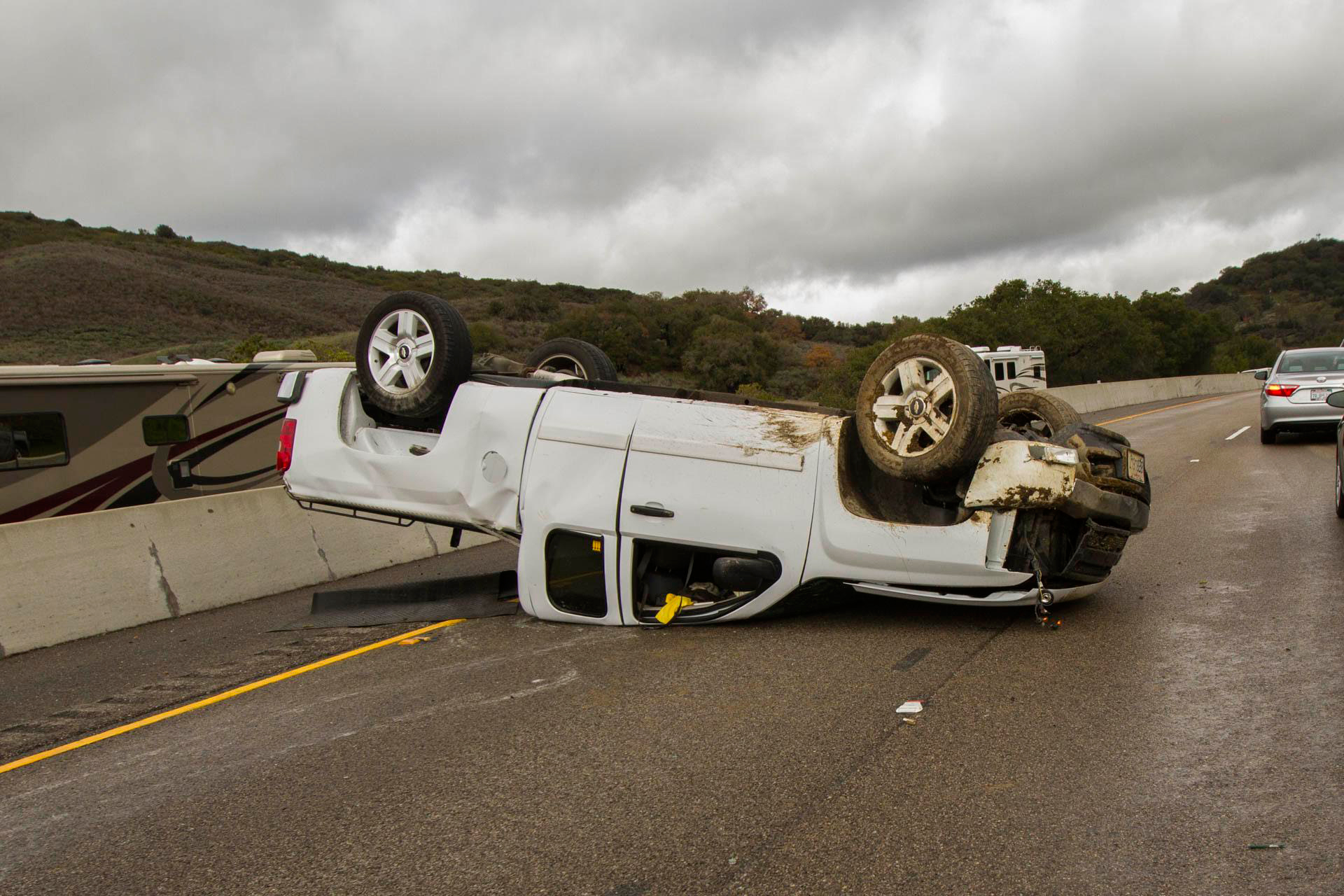 There were no injuries in a rollover accident on Highway 101 in Gaviota Sunday.