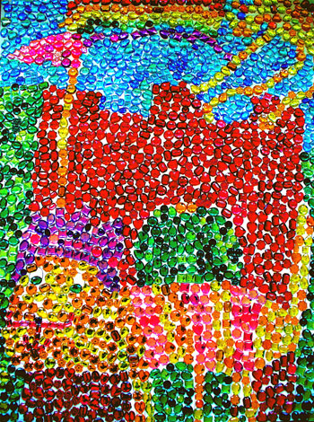 A mosaic by students at Marymount of Santa Barbara honors Rex, the school's resident cat.