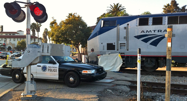 An Amtrak passenger train is stopped near State Street in Santa Barbara on Sunday after a man was struck and killed in an apparent suicide. The victim was tentatively identified as a 63-year-old Santa Barbara man. (Joe Buttitta / KEYT News photo)