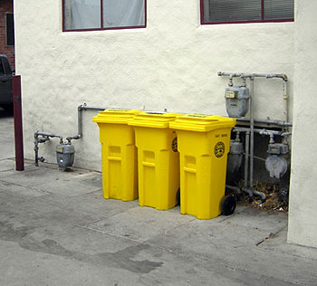 Yellow bins for food scrap composting may soon join a rainbow of container hues in commercial district alleys around Santa Barbara.