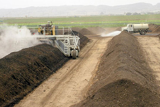 Waste food from Santa Barbara's pilot composting program is processed at the Engel & Gray compost factory in Santa Maria.