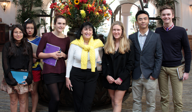 <p>Journalist Bonnie Erbé, center, with Anacapa School students, from left, Neeva Pradhan, Pica Zhuang, Lia Milar, Elena Alcerro, Allen Zhang and Rufus O'Dea after her talk on Monday to the Channel City Club.</p>