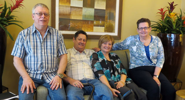 Nearly nine months after a DUI driver ended their dream vacation in California, Jim and Ellen Atwood, center, with close friends and traveling companions Bill and Marnee Paterson, are attempting to complete it. (Gina Potthoff / Noozhawk photo)