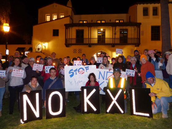 <p>A candlelight vigil was held Monday night in De la Guerra Plaza to raise awareness on climate change and to protest the Keystone XL pipeline.</p>
