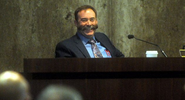 <p>Fourth District Supervisor Peter Adam is all smiles after the Santa Barbara County Board of Supervisors voted Tuesday to put his infrastructure maintenance proposal on the ballot.</p>