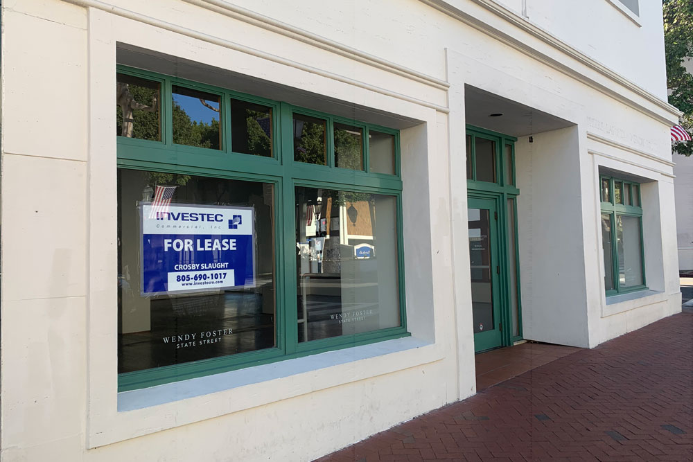 Vacant storefront on State Street in downtown Santa Barbara.