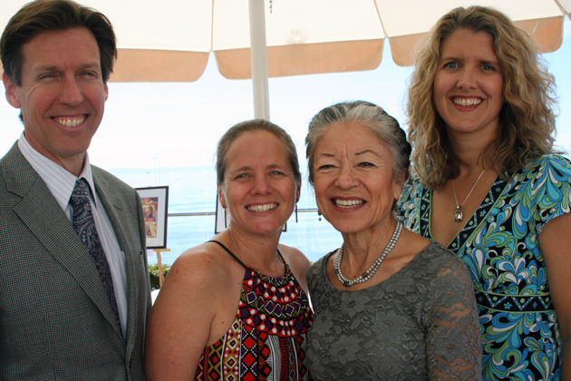 <p>CALM board trustees Kevin Bourke, left, and D&#8217;Arcy Cornwall, Executive Director Cecilia Rodriguez and board president Bridget Foreman celebrate CALM at Heart, Healing Through Art luncheon in the Coral Casino at the Four Seasons Resort The Biltmore Santa Barbara.</p>