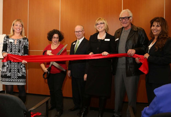 Joining in the ribbon-cutting for VNHC's new building are, from left, board chair Michelle Martinich, Santa Barbara Mayor Helene Schneider, VNHC Foundation Executive Director Rick Keith, VNHC President/CEO Lynda Tanner, past board chair Steve Lew and COO Pauline Jones. (Visiting Nurse & Hospice Care photo)