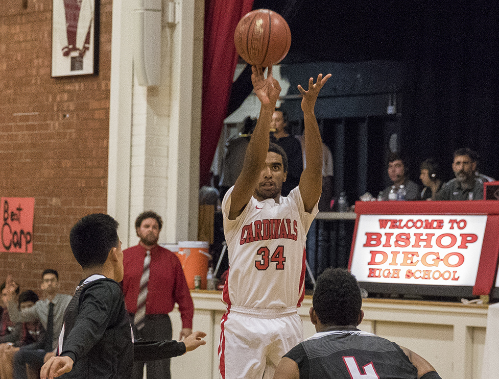 Will Goodwin of Bishop Diego pulls up for a jumper during Cardinals' 57-42 win over Carpinteria.